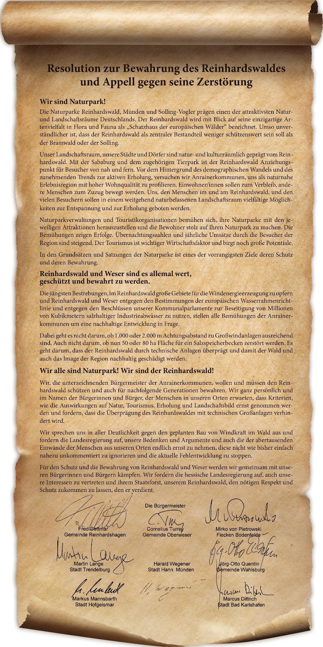 Resolution zur Bewahrung des Reinhardswaldes und Appell gegen seine Zerstörung